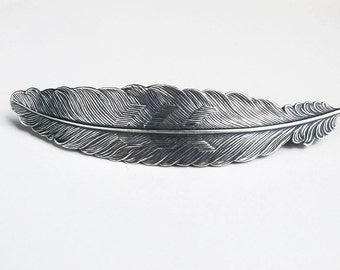 Silver Large Feather Barrette Antiqued Silver Metal