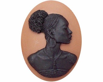 40x30mm Black cameo African American cameo Resin Cameo afro afrocentric black pride loose cabochon 719x
