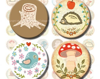 1 inch circles In the Woods Digital Collage Sheet  bottle cap images, pendants, magnets. Instant download printables: stump, bird, wreath