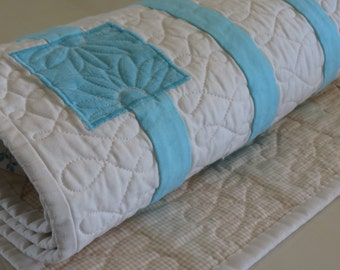 Tiffany Blue and Cream Quilted Table Runner with Appliqued Squares