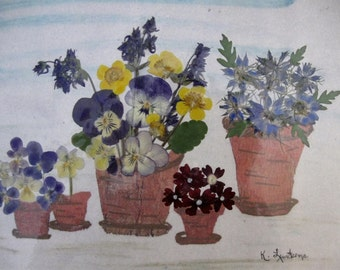 NEW Picture -  Three pots of real  pressed flowers  Item No. 222