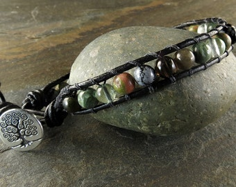 Men's Cancer Awareness Leather Wrapped Bracelet