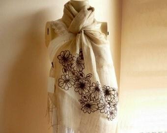 Beige Linen  Long Scarf / Shawl -Turkish Scarf-Handmade Roses