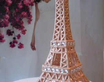 Peach Cream Paris Eiffel Tower Cake Topper  MEASURES  5  &  1/2 INCHES TALL Showers Nursery Decor  We Ship Internationally