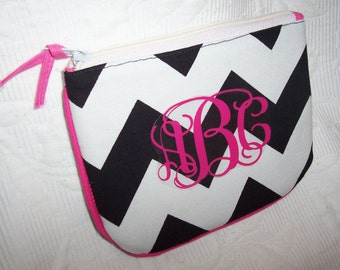 Large CHEVRON Cosmetic BLACK & WHITE Personalized Gift Wrapped