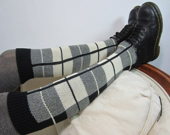 Black White Knee High Boot Socks Leg Warmers Plaid Cotton Knit A1391
