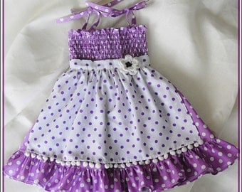 Purple and white polka-dot APRON dress for little girls-Lilac Apron Dress (size 12 m to 6 years) Easter dress-Birthday dress - Apron dress
