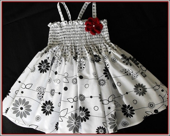 Black and White - Gray patterned dress for 2T  -Spring and summer dress-Little girls dress-READY TO SHIP