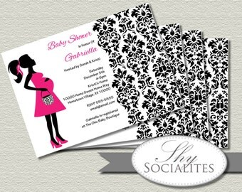 Pregnant Silhouette Baby Shower Invitation | Damask, Baby Bump, Black, Pink, Pregnant woman | Printable Invitation | PDF INSTANT DOWNLOAD