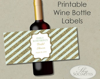 mint gold glitter printable wine label hostess gift holiday gift wedding wine bottle