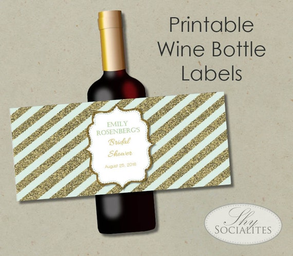 Mint & Gold Glitter Printable Wine Label Hostess Gift