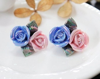 4PCS Colored Enameled Highly Detailed Handmade Beautiful Colorful ceramic Flower Cabochon -has bead hole -(CAB-EN-13)