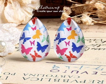 4pcs  18x25mm Handmade Photo Teardrop Glass Cabochon -Image Glass Cabochon-(Butterfly)-(HPGC-T-40 )
