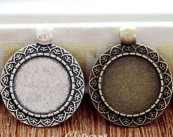 10Pcs 18mm  Antique Bronze/Antique Silver/ Cabochon Setting Cameo Base frame Base for making necklaces and pendants(SETHY-210)