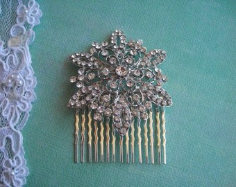 AVA ~ Bridal Silver with Austrian Crystal Snowflake Hair Comb