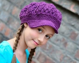 Girls Crochet hat, Crochet Newsboy Hat,  Newsboy Hat for Girls, Toddler Girl Hat, Crochet Hat for Girls, Little Girl Hat, Hats for Girls,
