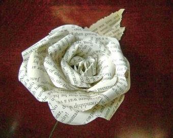Jane Austen Pride and Prejudice vintage book paper  flower rose with leaf on stem or any other of Jane Austen's books