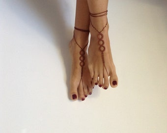 barefoot sandles, beaded, Barefoot Sandals, brown, beach sandals, handmade sandals, brown wedding, READY TO SHIP