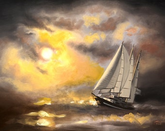 Sailboat boat seascape 24x36 oils on canvas painting by RUSTY RUST / M-263