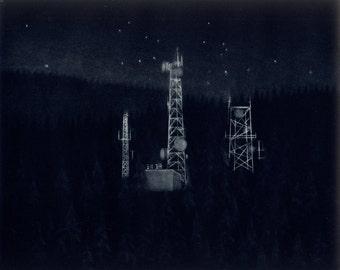 Northern Forest (Radio Towers) - Original Mezzotint