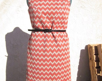Chevron Orange and White Zig Zag Dress
