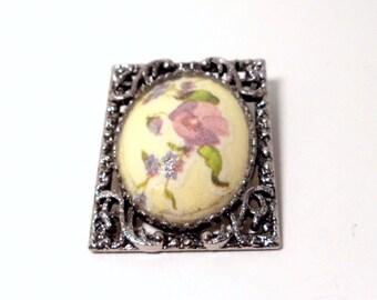 Pansy Brooch Pendant- Ornate Pewter Frame- 1970s Brooch- Porcelain Brooch- Sugar Coated- Pewter Pendant- Floral Pendant- Flower Brooch