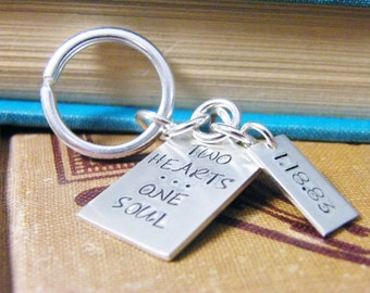 two hearts one soul / key chain mens anniversary gift wedding date sterling silver key ring