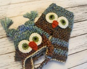 Newborn Owl Set is READY to SHIP - Crochet Owl Hat and Pants Set - Baby Owl Hat and Pants - Baby Owl Photo Set - by JoJo's Bootique