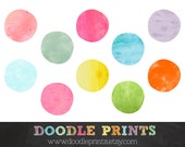 Watercolor Dots - Digital Clip Art Printable Images - Watercolor Circles Clipart Design - Polka Dots Logo - Personal & CommercialUse Only