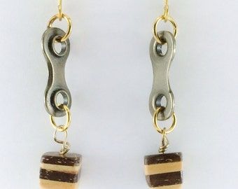 bicycle chain and coconut shell earrings, cycling bike jewelry