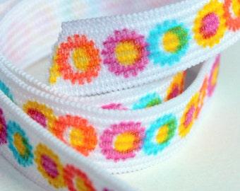 Flower Print Elastic, 5 yds Flat Elastic, Half Inch Wide Print Elastic, Sewing Supplies, elas009/5