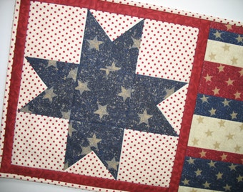 July 4th Wall Hanging or Table Runner - Patriotic Year Round Independence Day Stars and Stripes