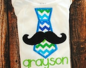 Moustache Tie with Personalization Embroidered Shirt or body suit