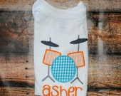 Drum Set Embroidered Personalized Shirt or Bodysuit