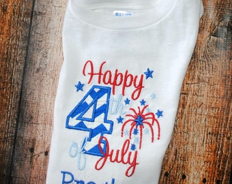 Happy 4th of July Embroidered  T-Shirt or bodysuit