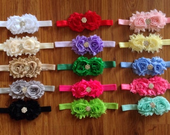Choose 1...Shabby Flower Headbands with rhinestone...choose your color..