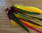 Long Feather Earring Rasta Earrings Reggae Gold Red Green Black Feather Jewelry Dangle Earrings Hippie Jewelry Hippie Earrings Custom Made