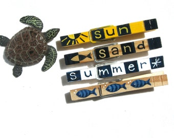 SUMMER CLOTHESPIN magnets hand painted