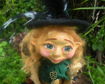 Forest Girl Witch Magician OOAK Art Doll for Halloween handmade