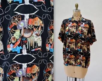90s Vintage Nicole Miller Silk Shirt Texas Cowboy Austin Rodeo Print Shirt Size Large Mens Womens