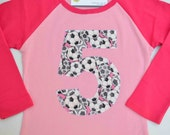 Girls 5th Birthday Shirt, Soccer Ball Pink Raglan Number 5 Tshirt, Applique Sports Tee Size 6 Ready to Ship