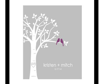 """Personalized Wedding Gift Bridal Shower Gift Personalized Custom Love Birds Family Tree You Choose Colors - 8""""x10"""" (You choose Colors))"""