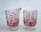 Vintage 1940s Ruby Flash Glass Cream and Sugar Set, Ruby Flash Westmorland Glass Cream and Sugar, Vintage Glass Cream and Sugar Pink Grapes