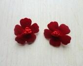 velour blossoms -clip on earrings (soft velour burgundy maroon flowers on clip on base)