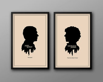 SAVE 5% - All Four Modern Silhouette Cameo Prints // Minimalist London Skyline and Literary Character Profile Illustrations