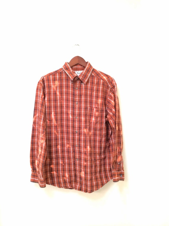 Acid wash shirt in orange plaid flannel hipster by for How to wash flannel shirts