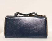 Vintage 50s Blue Purse / 60's Handbag / Rockabilly, Mad Men Style / Navy Blue Purse /1950s 1960s