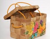 Vintage 50s 60s Purse /Flower Purse Handbag Bag /Wooden Decoupauge Wicker Basket Box / Bag Basket