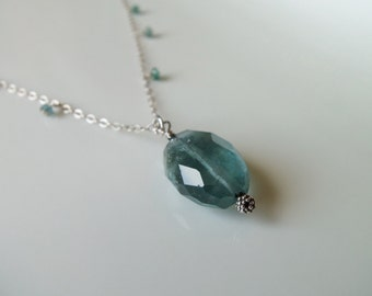 Steely Blue Aquamarine Gemstone Nugget Pendant Handmade Necklace Wire Wrapped with Sterling Silver