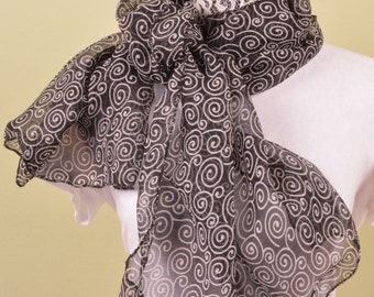 SCARF-Sheer black and white swirl - fashion scarf 55 by 20 inches